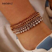 Crystal Anklet Bracelet Barefoot Sandals Ingesight.z Fashion Luxury Punk Curb Shiny 5pcs/Set