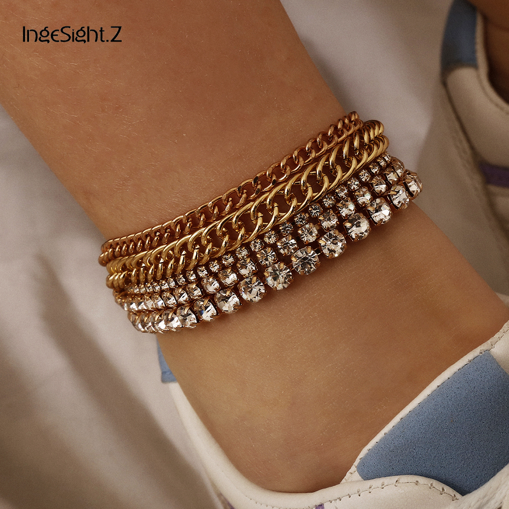 IngeSight.Z 5Pcs/Set Punk Luxury Shiny Crystal Anklet Bracelet Fashion Curb Cuban Anklet Barefoot Sandals On Foot Ankle Jewelry