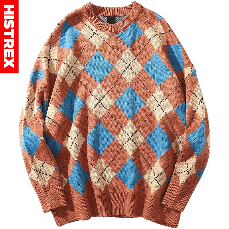 2020 Hip Hop Sweater Pullover Retro Plaid Streetwear Mens Knitted Sweater Checkered Vintage Color Block Sweaters Cotton Autumn