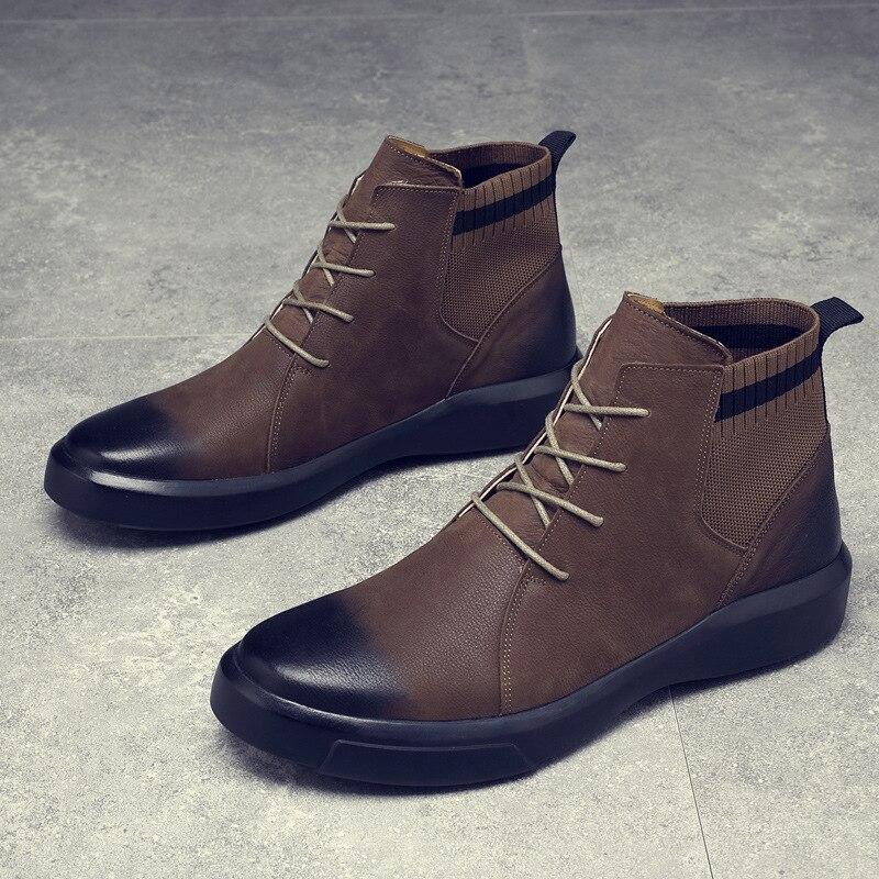 Martin bottes hommes en cuir véritable chaussures hommes Chelsea bottes mode noir printemps automne mâle chaussures adulte chaussures plates décontracté bottes d'hiver