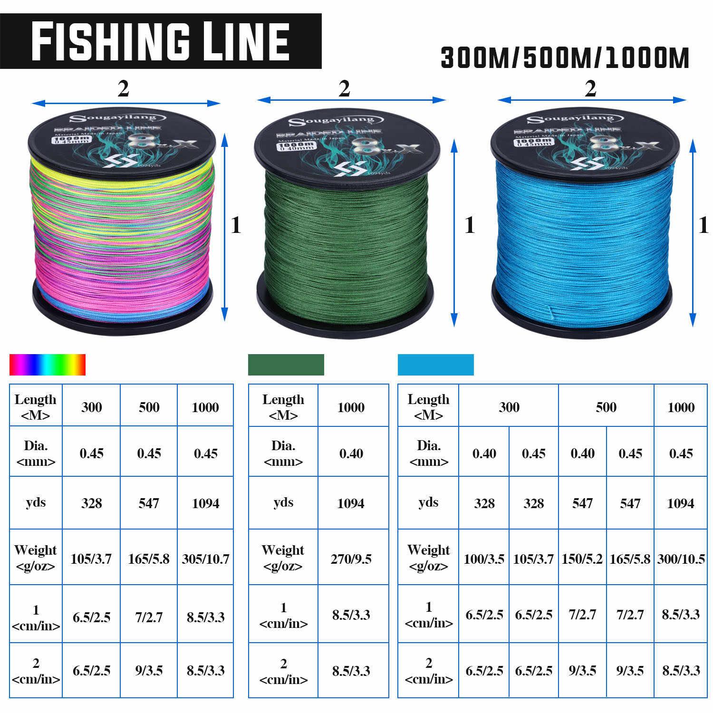 Sougayilang, nuevo sedal de Pesca de 9 hebras PE Raid, sedal de Pesca de 300M, 500M, 1000M, hilo de Pesca multifilamento para carpa