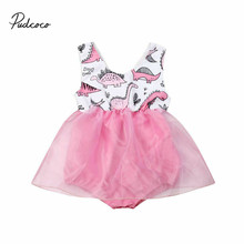 Pudcoco Newborn Baby Girl Clothes Kids Cute Cartoon Dinosaur Bodysuit Casual Sleeveless Tulle Dress Sunsuit Outfits baby girl white bodysuit dress sleeveless cute white cotton clothes outfits newborn baby kids girls infant clothing tops