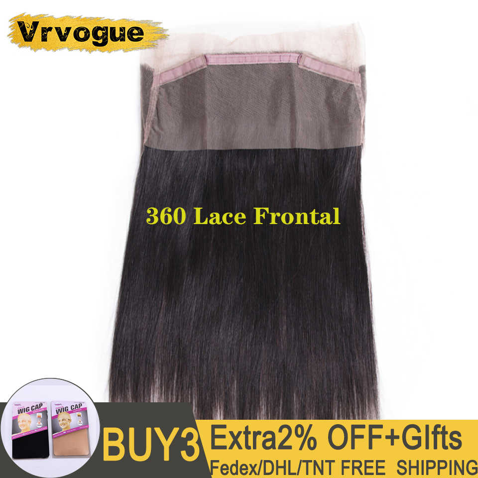 Vrvogue Brazilian Straight 360 Lace Frontal 100% Remy Human Hair Lace Frontal Closure Pre Plucked With Baby Hair Natural Color