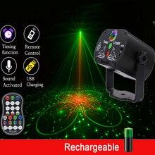 USB akumulator 60 wzorów RGB światło dyskotekowe DJ Laser Stage projektor lampa na ślub urodziny lampa na przyjęcie z kontrolerem