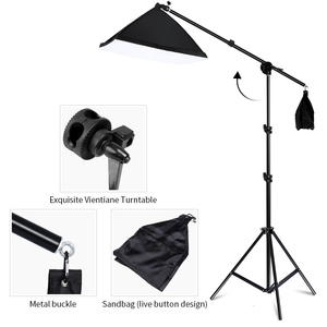 Image 4 - Kit de equipamento de iluminação para fotografia, equipamento profissional com suporte macio de fundo com braço do boom, backdrops, estúdio de fotos