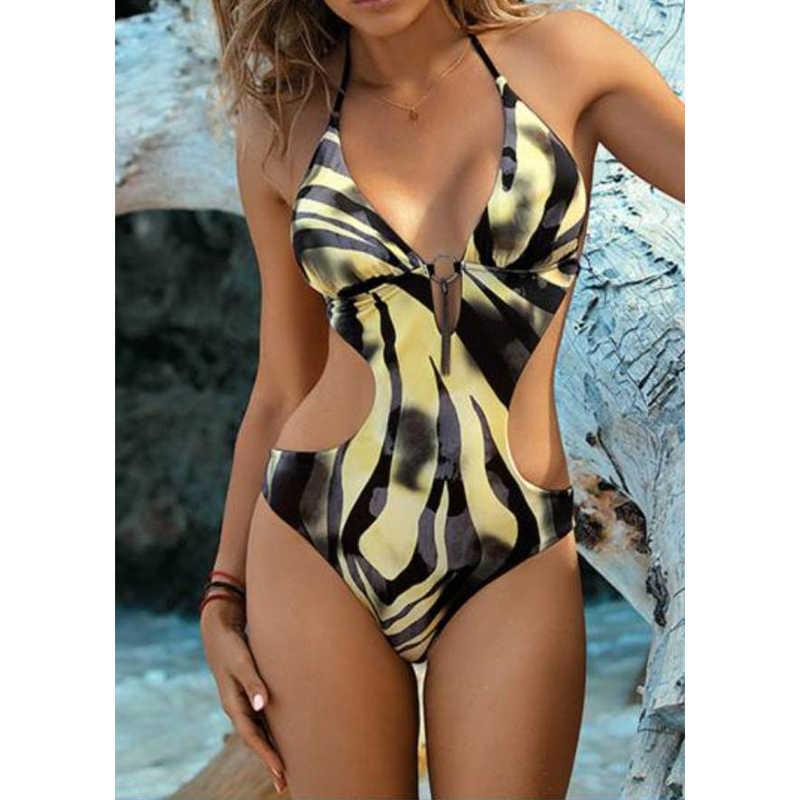 مثير البيكينيات زهرة طباعة ملابس النساء الصيف ثوب السباحة النساء الرسن biquini ملابس الشاطئ بيكيني قطعة واحدة ملابس السباحة