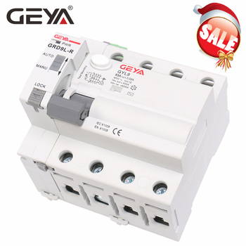 цена на GEYA GRD9L 4 Pole RCCB Recloser Breakers Automatic Reclosing Device Remote Control Circuit Breaker 63A 30mA