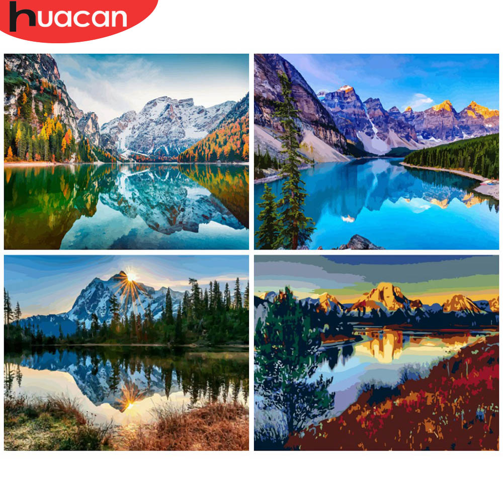 HUACAN Painting By Numbers Mountain Landscapes Acrylic Drawing Canvas Lake Full Set For Adults Home Decoration Gift
