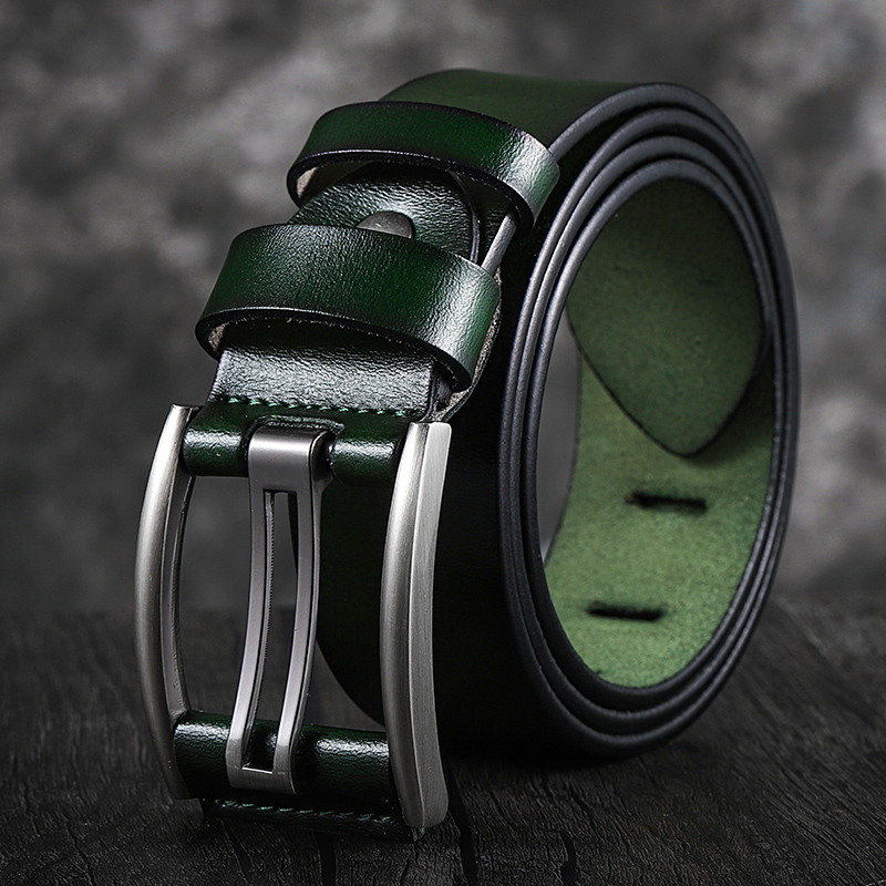 Cintura in vera pelle uomo nero/verde/blu/caffè cintura di alta qualità cinture da uomo Vintage cinturini 90-130CM