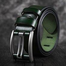 Ceinture Vintage en cuir véritable pour homme, accessoire de bonne qualité, disponible en noir, vert, bleu, café, 90-130CM