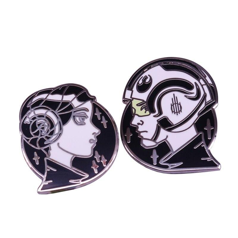 Star Wars Luke Skywalker & Princess Leia enamel pin set pop-culture brooch(China)