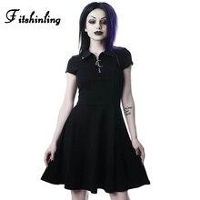 Fitshinling 2019 Goth Dark Moon Solid Party Dresses Turn-down Collar Zipper Up Mini Harajuku Dress Elegant Punk Vintage