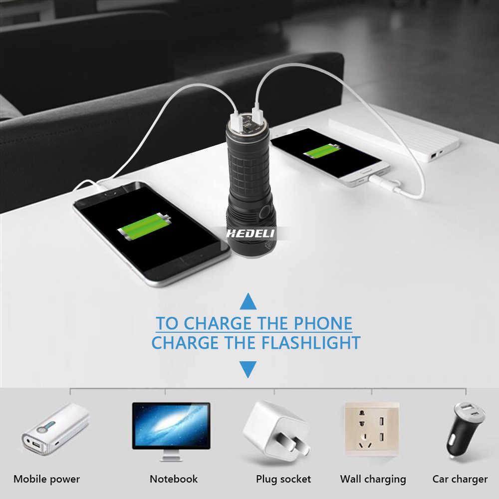 XLamp XHP70.2 usb polowanie najbardziej latarka o dużej mocy led cree xhp70 latarka akumulatorowa 18650 zasilanie mobilne lampa camping