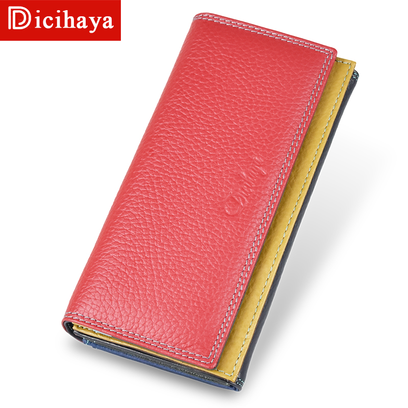DICIHAYA Genuine Leather Women Clutch Wallet Color Matching Female Coin Purse Long Phone Bag Card Holder Handy Passport Holder