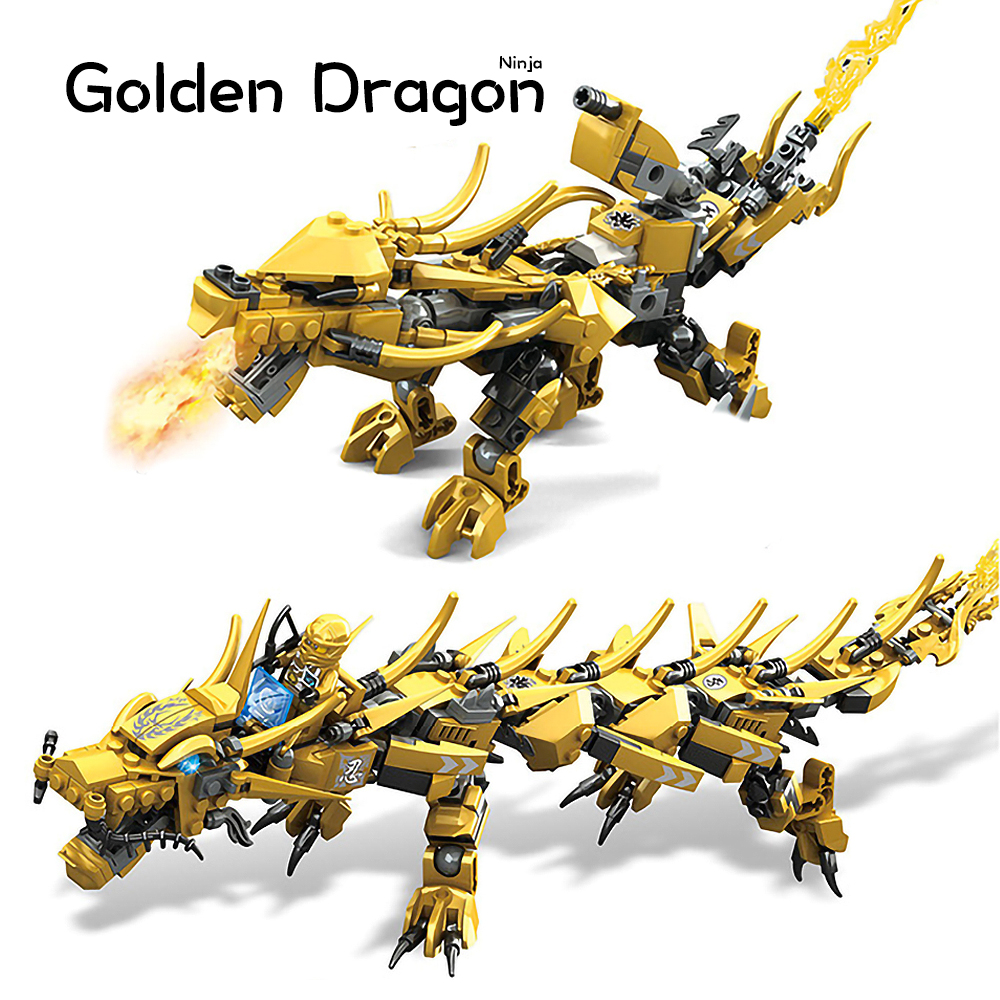 Compatible Ninjagoed Ninja Golden Dragon Mech Creator Dragon 2 in 1 Set DIY Educational Gift Building Blocks Toys For ChildrenBlocks   -