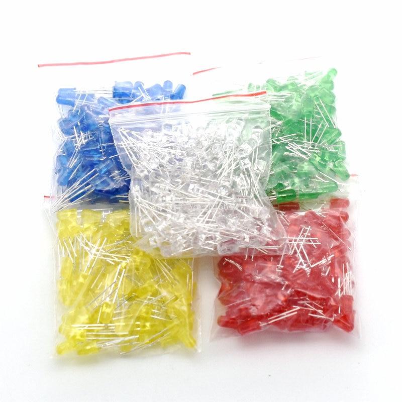 500PCS/LOT 5MM LED Diode Kit Mixed Color Red Green Yellow Blue White Led Light DIY Kit Free Shipping