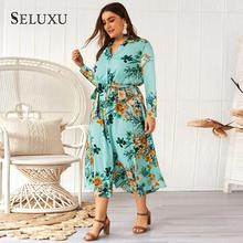 Seluxu 2019 Autumn Plus Size Women Dress Floral Print Shirt Dress Long Sleeve Button Dress Large Size Women Dress button up plaid plus size shirt dress
