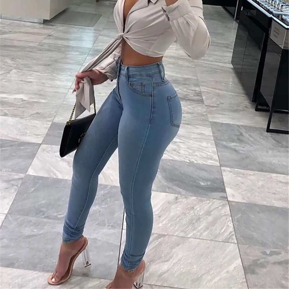 Women Skinny Jeans Solid Color High Waist Stretch Denim Jeans Pencil Pants Classic Casual Wild Bottoms for Daily Streetwear 1