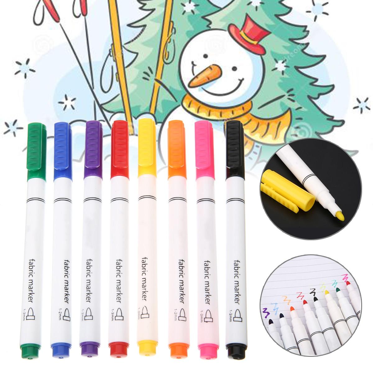 8 Colors Permanent Art Marker Fabric Pens For T-shirt Liner Textile Ink Cloth Paint Color DIY Design For Artist Painting Pen