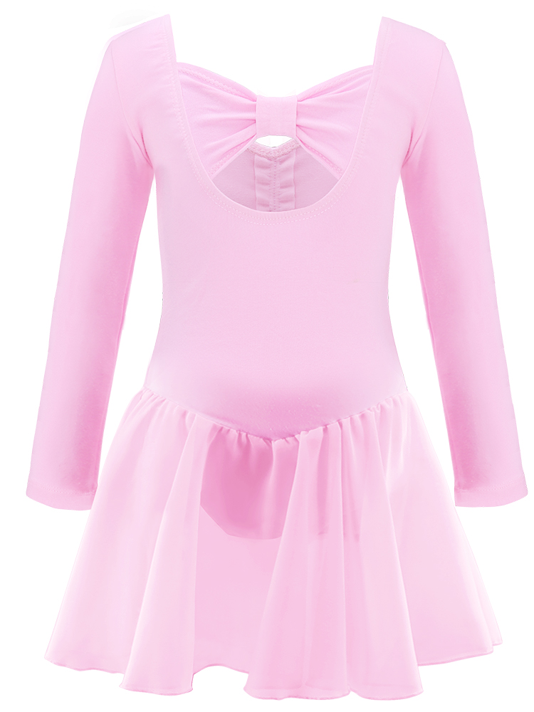 Dress Skirted Leotard Dance Chiffon Girls Long/short-Sleeve Kids Cotton Children Training