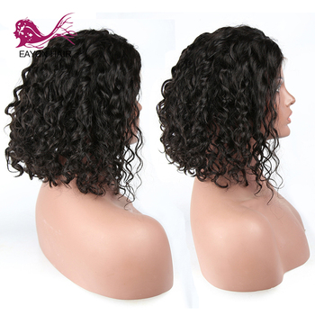 EAYON Brazilian Short Loose Curly 13x6 Lace Front Wig with Baby Hair Pre Plucked Glueless Remy Human Hair Bob Wigs Bleached
