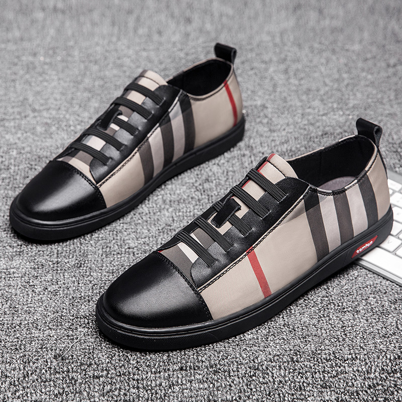 2019 New casual fashion ultra light breathable outdoor leather leather plaid flat shoes zapatos de hombre men's shoes tennis