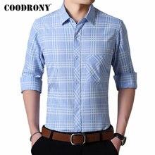 COODRONY Brand Men Shirt Fashion Plaid Casual Shirts Autumn Long Sleeve Soft Cotton Camisa Masculina With Pocket 96089