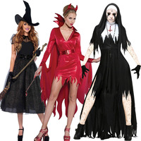Halloween Costumes for Women Horror Red Demon Dress Vampire Witch Nun Night Club Stage Carnival Cosplay Scary Costume Party