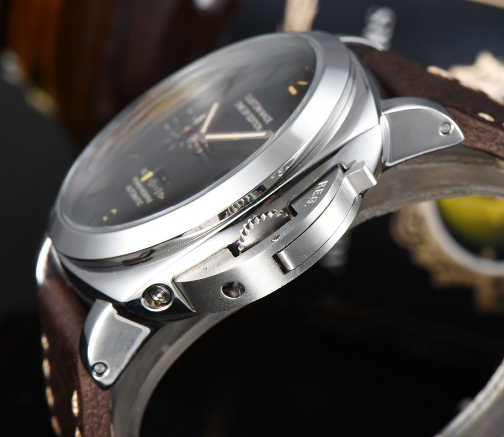 Automatic watch 47mm Movement power reserve Stainless Steel case Men 39 s Watch High Quality Leather Strap P 47 1 in Mechanical Watches from Watches