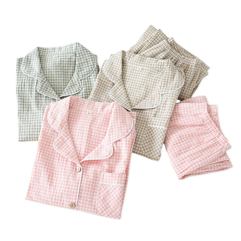 2020 New Fashion plaid pure cotton pajamas sets women sleepwear long sleeve Fresh soft exquisite pyjamas women