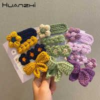 HZ 2020 Otoño Invierno 4 unids/set Adorable colorido lana de punto Bowknot flor pelo Clip horquilla para mujer Niños Accesorios