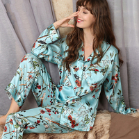 Women's Sleep & Lounge summer 100% silk Pajama Sets woman T8166