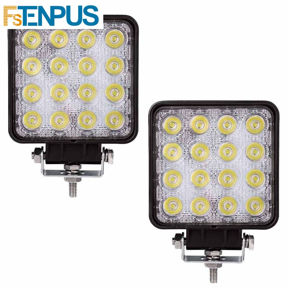 1 Pcs 48W 6000k LED Spot Beam Square Work Lights Lamp Tractor SUV Truck 4WD 9V-36V Waterproof For The Kinds Of Vehicles