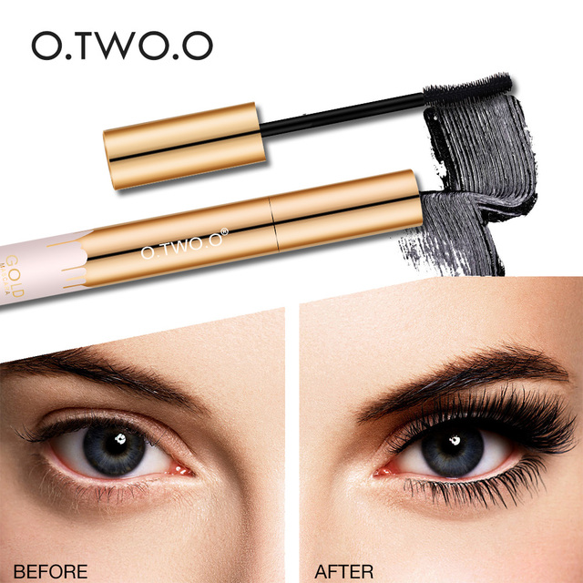 O.TWO.O 3D Mascara Lengthening Black Lash Eyelash Extension Eye Lashes Brush Beauty Makeup Long-wearing Gold Color Mascara 4
