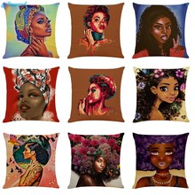 Ouneed African women Pillow Case Polyester Printed Throw Cushion Home Sofa Bedroom decorative body pillow covers 45cm*45cm A1231(China)