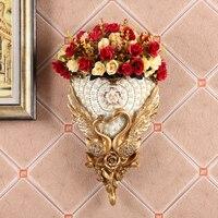 European Luxury Diamond Resin Wall Vase+Artificial Flower Set Figurines Home Wall Mural Livingroom Furnishing Decoration Crafts