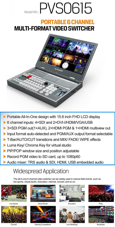 Image 5 - Avmatrix PVS0615 Portable 6 Channel Multi format Video Switcher SDI HDMI Video Mixer with 1080p recordMonitor   -