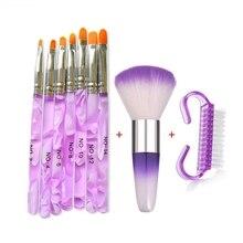 цена на 9Pcs Sets Wholesale Nail Art Acrylic UV Gel Extension Builder Painting Brush Lines Liner Pattern Drawing Pen Manicure Tools