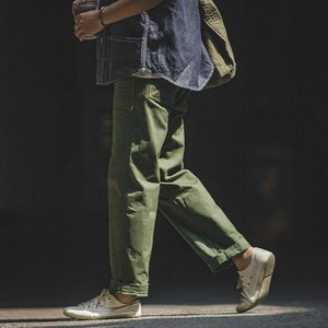 Image 4 - Maden Mens Green Army Pants Overalls Rectangular Straight Casual Pants Retro Vintage Men New Style Cotton