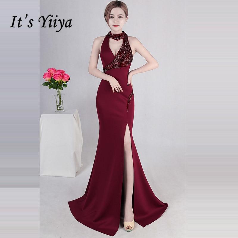 Burgundy Formal Dress It's Yiiya DX388 Cut-out Floor-Length Mermaid Robe De Soiree Sleeveless Halter Collar Dresses Woman Party