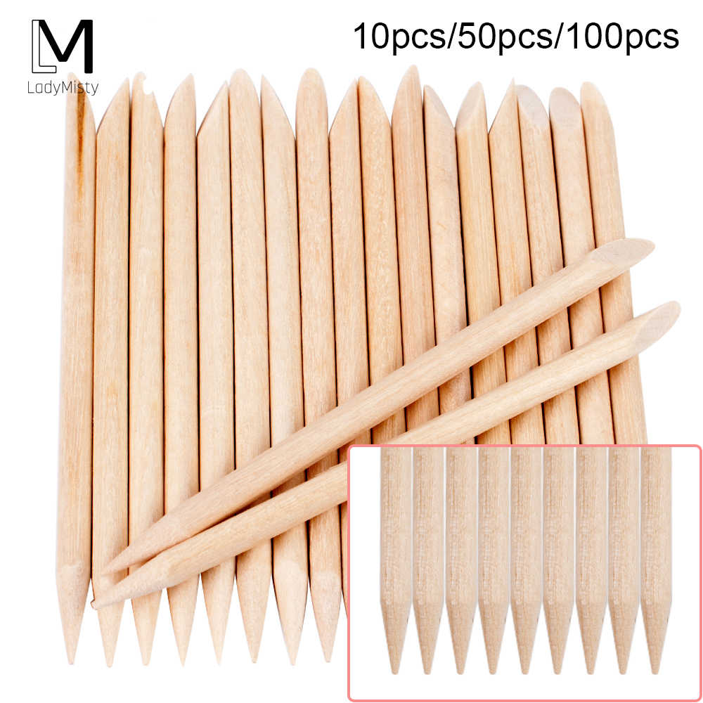 100/50/10 Pcs Houten Cuticle Pusher Nail Art Cuticle Remover Orange Wood Sticks Voor Cuticle Verwijderen Manicure Nail Art gereedschap