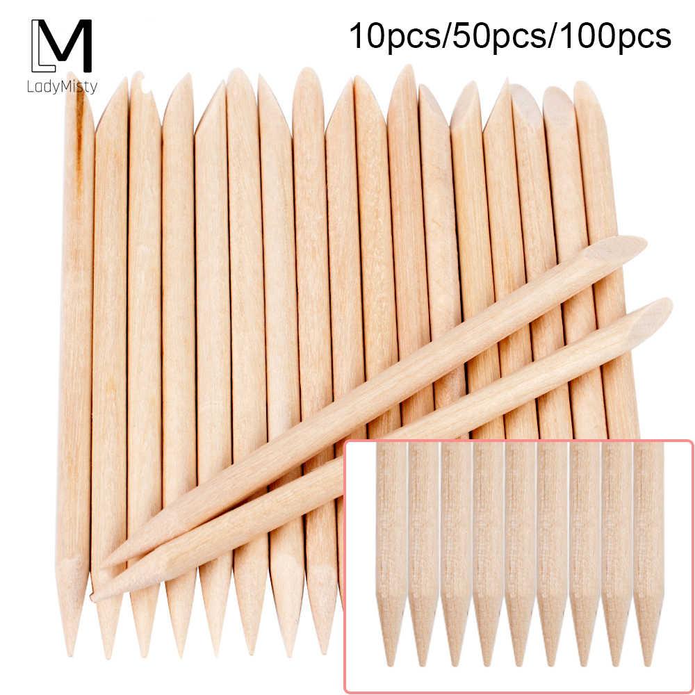 100/50/10 Pcs Kayu Kutikula Pendorong Kuku Seni Kutikula Remover Oranye Kayu Tongkat untuk Kutikula Penghilang Manikur nail Art Alat
