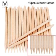 Empujador de cutículas de madera para decoración de cutículas, naranja, 100/50/10 Uds.