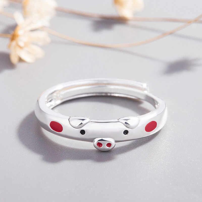 Nova moda dos desenhos animados bonito porco anéis cúbicos zodíaco sorte piggy animais amantes abertura anel para mulher homem jóias casal presente