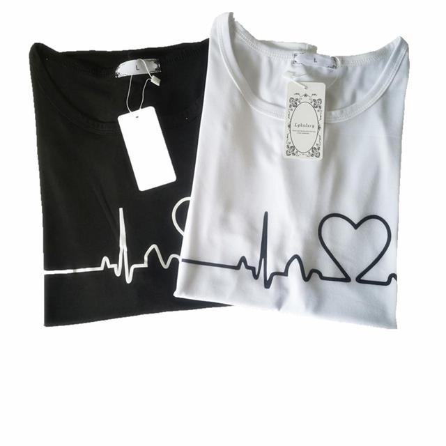 New Women T-shirts Casual Love Printed Tops Tee Summer Female T shirt 3