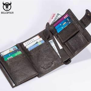 Image 3 - Cartera de cuero BULLCAPTAIN RFID para hombre, billetera corta con tres pliegues y cremallera, cartera, bolsillo para monedas con clip