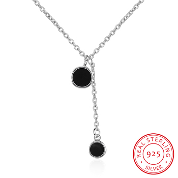 Simple Fashion 925 Sterling Silver Necklace Pendant Tassel Necklace For Women Girl Trendy Gift S-n27 image