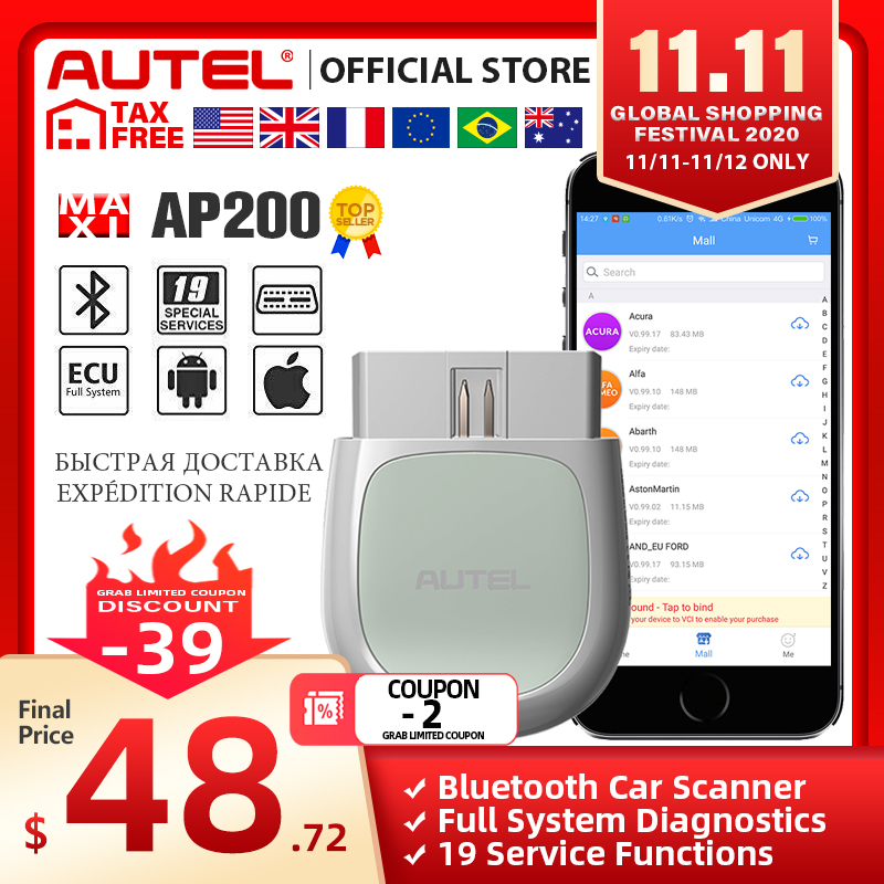 Autel AP200 Bluetooth OBD2 Scan Tool Code Reader Full System Diagnostic Scanner AutoVIN EPB SAS TPMS DPF IMMO PK MK808 easydiag|Code Readers & Scan Tools| - AliExpress