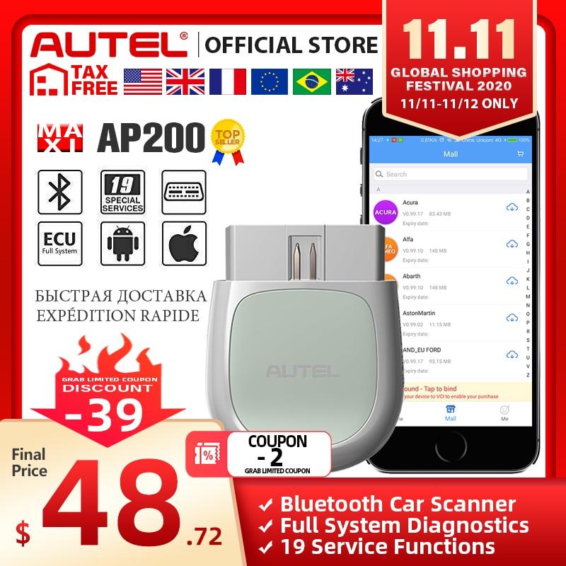 Autel AP200 Bluetooth OBD2 Scan Tool Code Reader Full System Diagnostic Scanner AutoVIN EPB SAS TPMS DPF IMMO PK MK808 easydiag