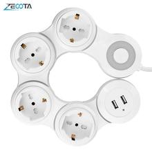 כוח רצועת מרובה 4 דרך האיחוד האירופי חנויות מתג חשמלי Plug Socket עם USB יציאת 2500W 10A 1.8m הארכת כבל נסיעות בית משרד